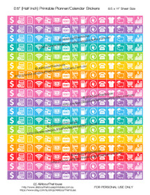 "Money Planner Stickers Printable - Half Inch (0.5"") Square - Rainbow - #HIS072"
