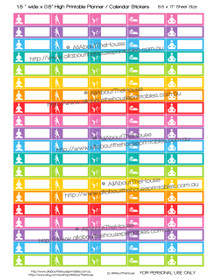 "Yoga Planner Stickers - Printable - 1.5 x 0.5"" - Rainbow"