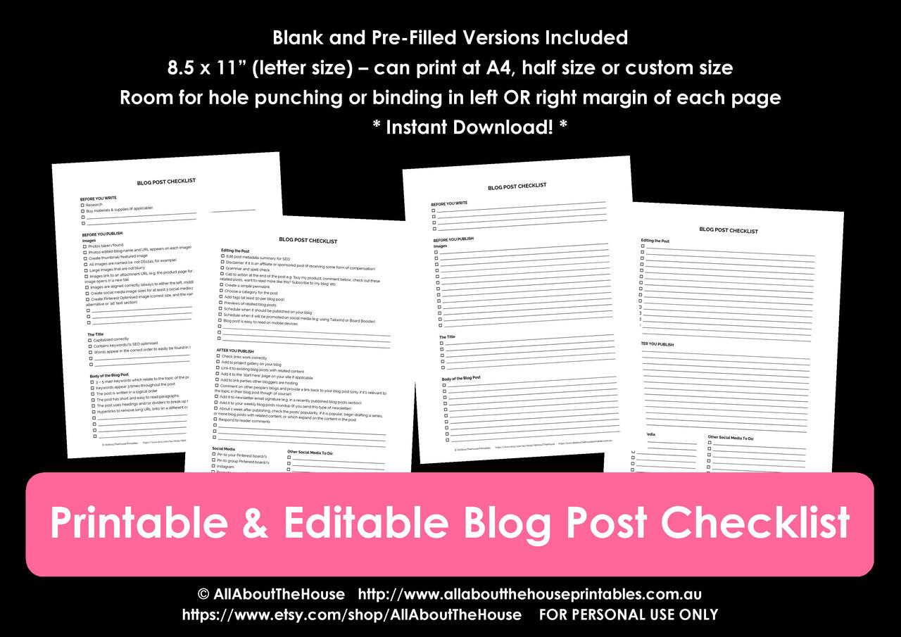 Blog post checklist printable PDF - INSTANT DOWNLOAD