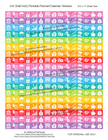 "Money Planner Stickers Printable - Half Inch (0.5"") Square - Rainbow - #HIS073"