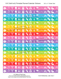 "Health Planner Stickers Printable - Half Inch (0.5"") Square - Rainbow - #HIS066"