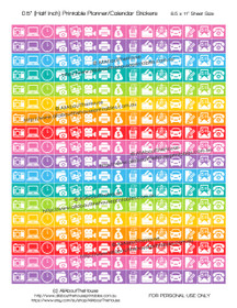 "Photography Planner Stickers Printable - Half Inch (0.5"") Square - Rainbow - #HIS053"