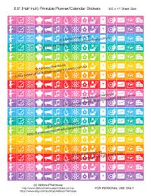 "School Subject Planner Stickers Printable - Half Inch (0.5"") Square - Rainbow - #HIS052"