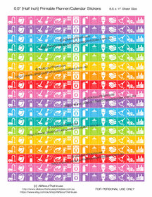 "Cleaning Planner Stickers Printable - Half Inch (0.5"") Square - Rainbow - #HIS049"