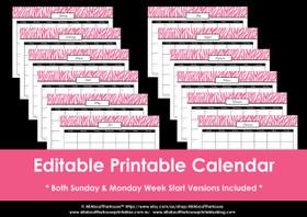 Editable perpetual printable calendar - Pink Zebra Instant Download
