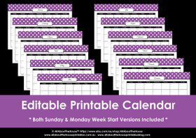 Editable perpetual printable calendar - Purple Polka Dot - Instant Download