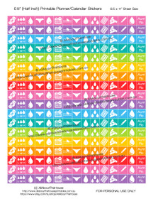"Period Menstrual Planner Stickers Printable - Half Inch (0.5"") Square - Rainbow - #HIS047"