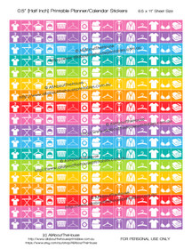 "Laundry Planner Stickers Printable - Half Inch (0.5"") Square - Rainbow - #HIS046"