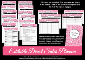Direct Sales Planner - Printable - Pink Zebra - Editable - Instant Download