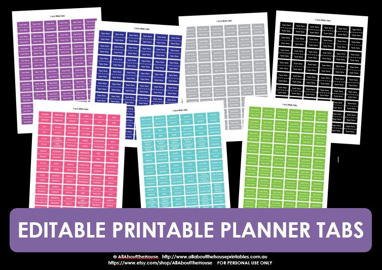 Editable In Excel Printable Planner Tabs All About