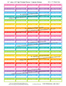 "Reminders Planner Stickers - 1.5 x 0.5"" - Rainbow - OL127"