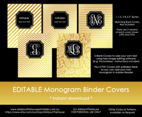 EDITABLE Monogram Binder Covers - Gold & Black (Set 1)