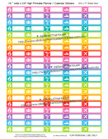 "Travel Planner Stickers - 1.5 x 0.5"" - Rainbow - OL125"