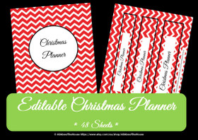 Christmas Planner - EDITABLE - Chevron Red - INSTANT DOWNLOAD