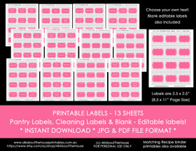 Printable pantry, cleaning, contents & blank editable labels - grey chevron & Pink