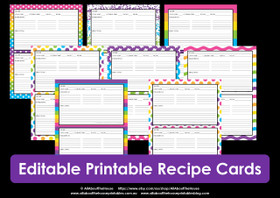EDITABLE Printable rainbow recipe cards - INSTANT DOWNLOAD
