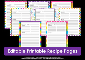 EDITABLE Printable rainbow recipe pages - INSTANT DOWNLOAD