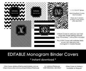 EDITABLE Monogram Binder Covers - Black