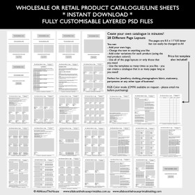 Catalogue template for wholesale or retail, Photoshop Template, Fully customisable - Instant Download