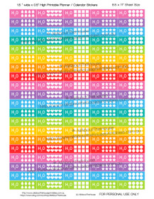 "Hydrate Planner Stickers - 1.5 x 0.5"" - Rainbow - OL148"