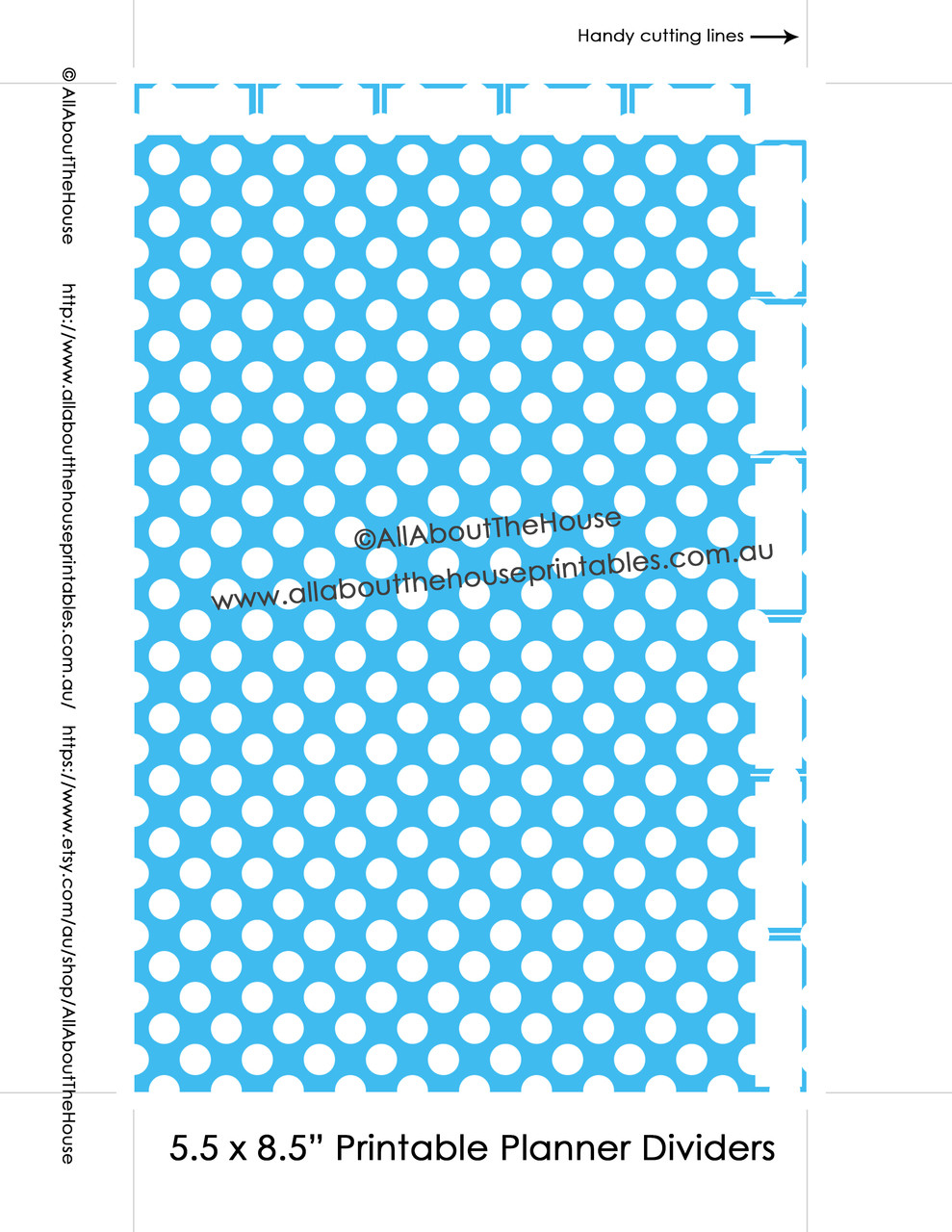 photo relating to Printable Binder Tabs called Planner Dividers 50 percent Dimension Tabbed A5 Junior Arc Printable Binder Handles  tabs - Fast Down load