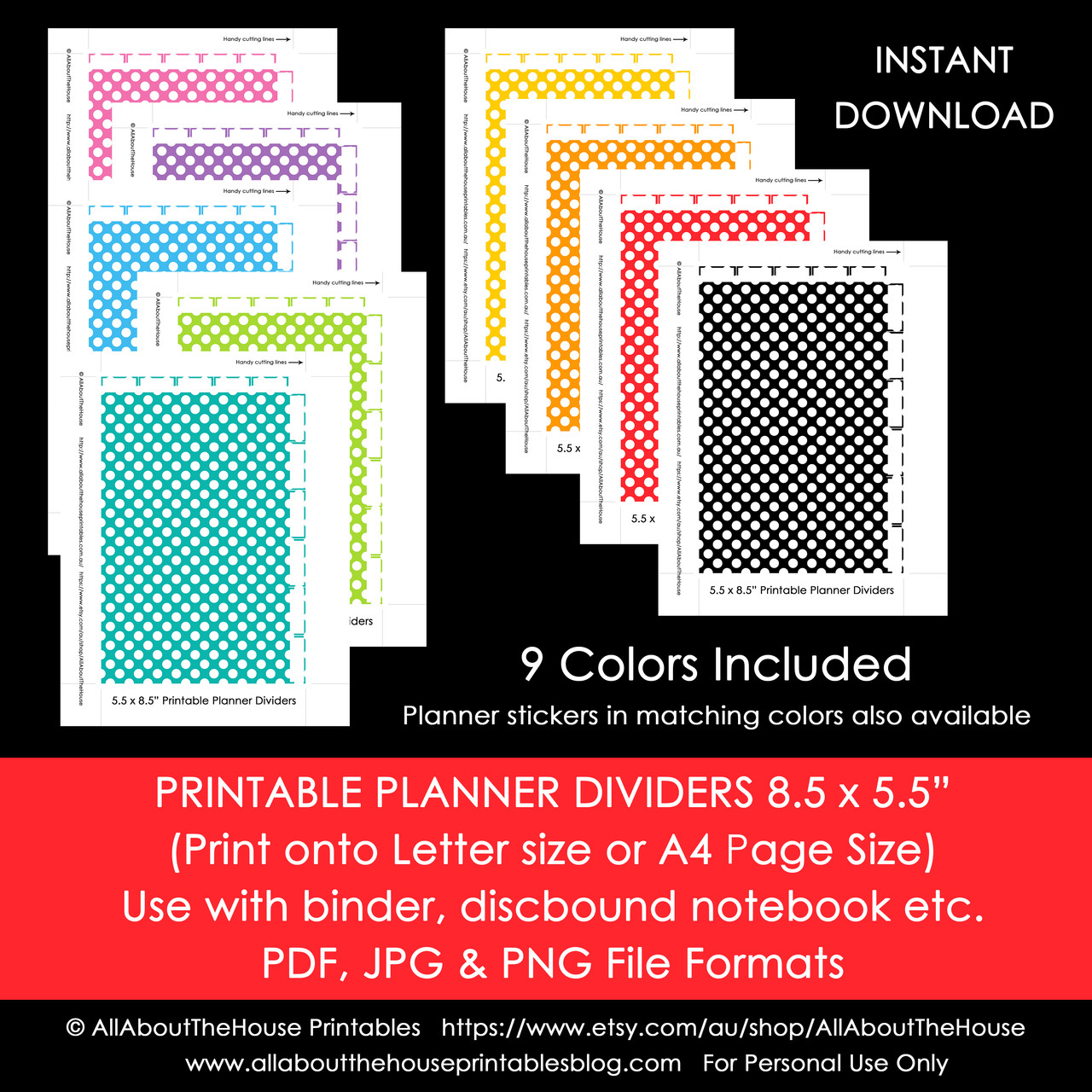 picture relating to Printable Dividers known as Planner Dividers Fifty percent Dimension Tabbed A5 Junior Arc Printable Binder Handles  tabs - Quick Obtain
