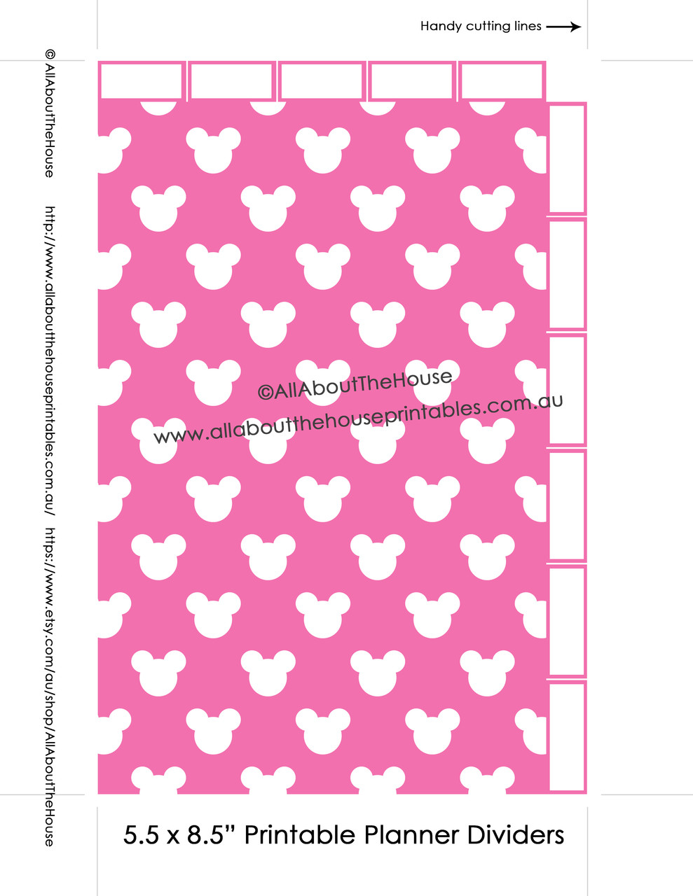 graphic relating to Printable Divider Tabs identify Planner Dividers Mickey Influenced 50 percent Sizing Tabbed A5 Junior Arc Printable Binder Addresses tabs - Immediate Obtain