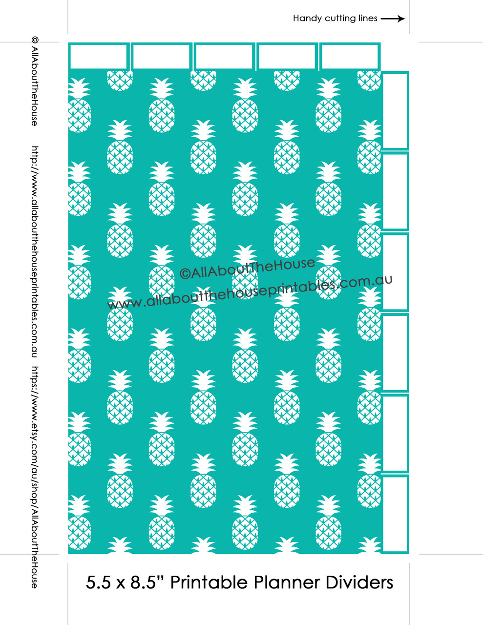 photo about Divider Tabs Printable known as Planner Dividers Pineapple 50 % Measurement Tabbed A5 Junior Arc Printable Binder Addresses tabs - Prompt Down load