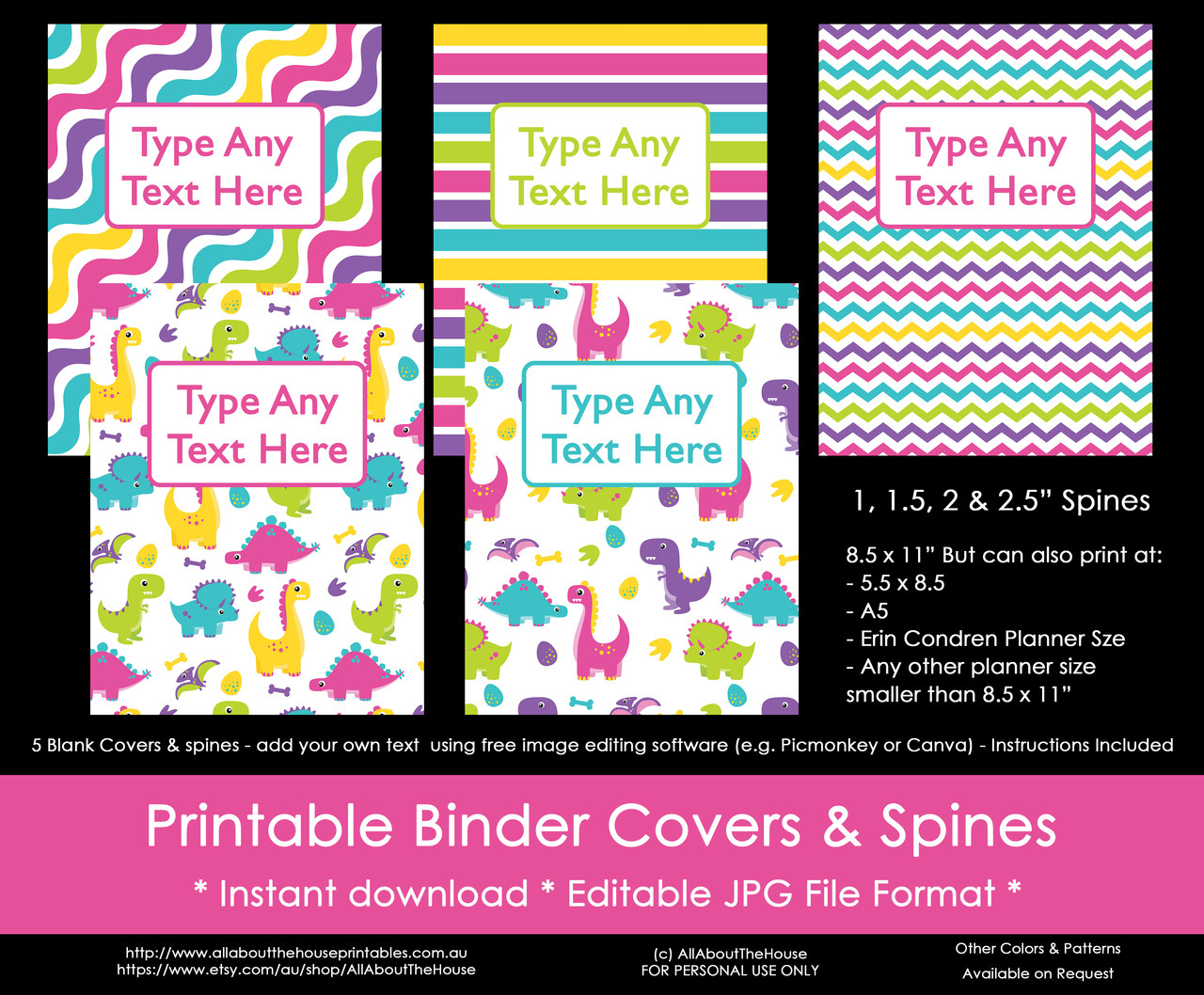 photo about Printable Binder Covers for School known as EDITABLE Rainbow Dinosaur Lady Binder Addresses