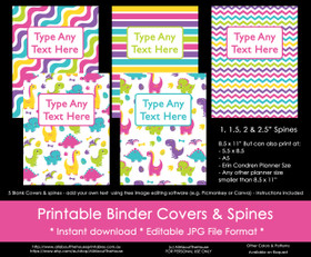 EDITABLE Rainbow Dinosaur Girl Binder Covers