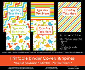 EDITABLE Rainbow Dinosaur Boy Binder Covers