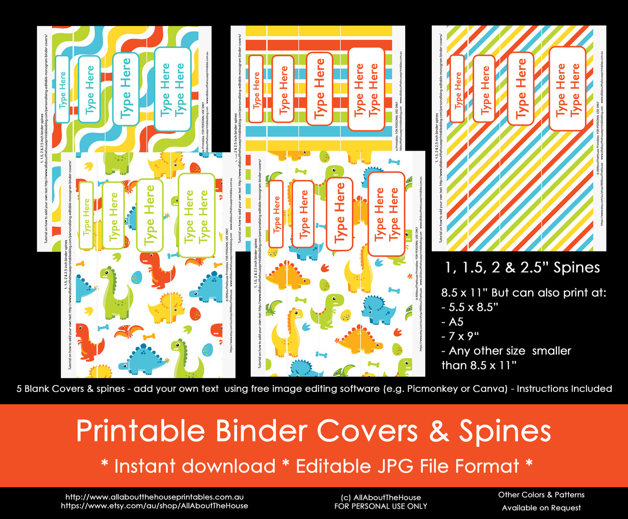 image about Free Printable Monogram Binder Cover identified as EDITABLE Rainbow Dinosaur Boy Binder Addresses