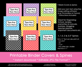 EDITABLE Rainbow Polka Dot Binder Covers