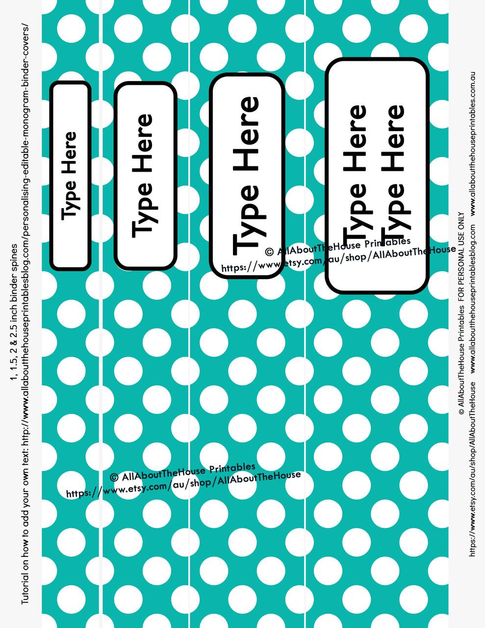 graphic regarding Planner Cover Printable known as EDITABLE Rainbow Polka Dot Binder Handles