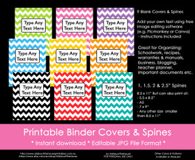 EDITABLE Rainbow Chevron Binder Covers