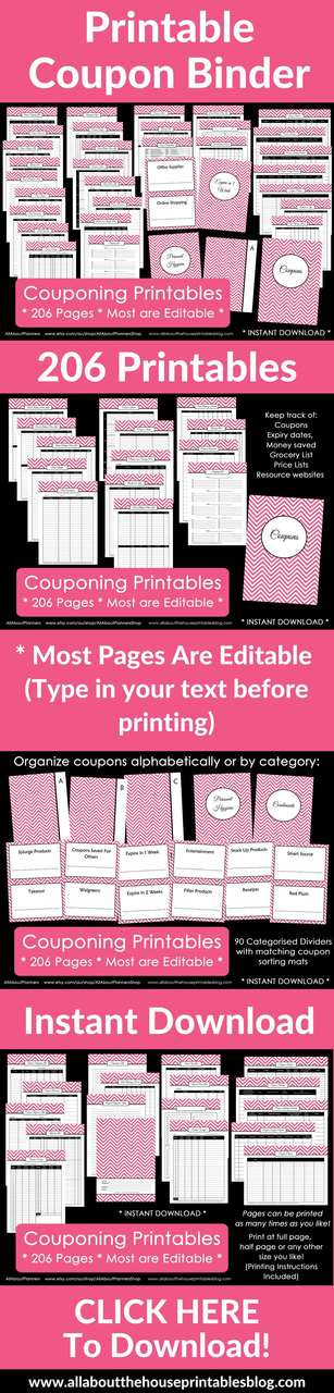 Couponing Binder Printables Editable Instant Download All
