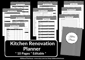 Kitchen Renovation Planner Printables - Editable - Instant Download