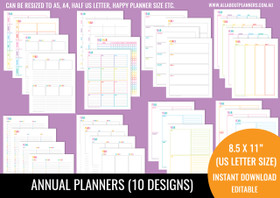 Annual Planners Printables - Rainbow