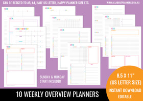 Weekly Overview Printables - Rainbow