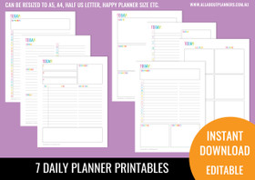 Daily Planner Printables - Rainbow