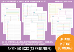 Anything Lists Kit Printables - Rainbow