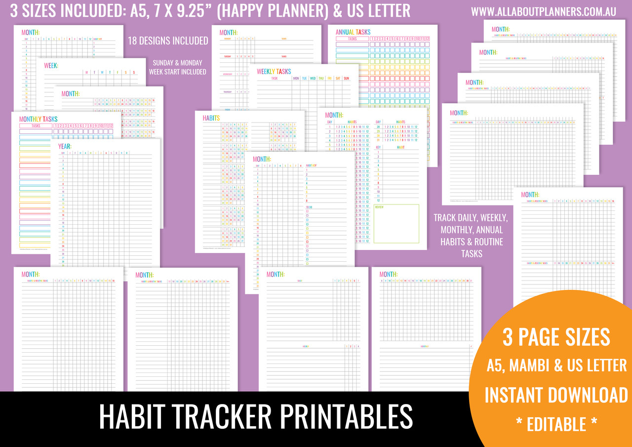 photograph about Bullet Journal Habit Tracker Printable titled Practice Tracker Printables - Rainbow