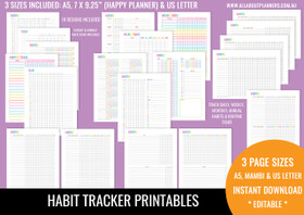 Habit Tracker Printables - Rainbow