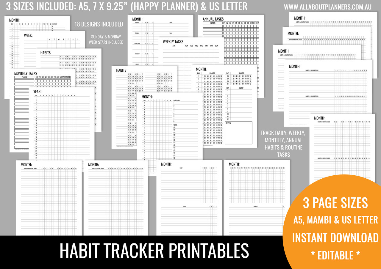 photo relating to Monthly Habit Tracker Printable named Routine Tracker Printables - Impartial