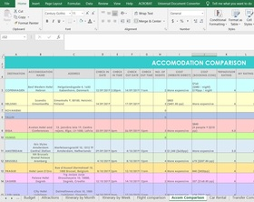 Hotel Comparison Travel Planning Spreadsheets (Excel or Google Docs)