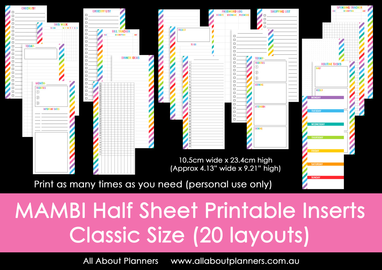 photograph relating to Printable Planner Inserts referred to as MAMBI 50 percent Sheet printable planner inserts (for the Clic Satisfied Planner)