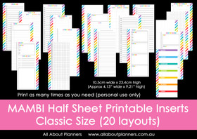 MAMBI Half Sheet printable planner inserts (for the Classic Happy Planner)