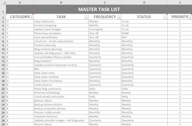 Master Task List Template (for Excel, numbers or Google Sheets)