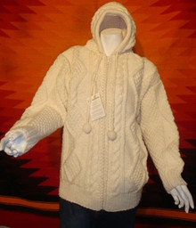 unisex cream hand-knitted wool sweaters, hoodie, zipped.