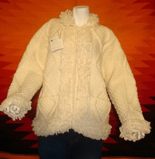 womens cream hand-knitted wool sweaters, cardigan, zipped.